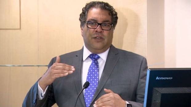 Mayor Naheed Nenshi speaks to reporters about the proposed city budget for 2018.