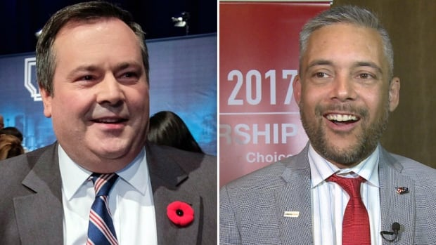 Alberta Liberal Party Leader David Khan, right, will square off against United Conservative Party Leader Jason Kenney in the Calgary-Lougheed byelection.