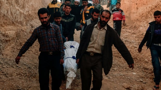 Syrians carry for burial the bodies of victims who died following reported shelling by Syrian government forces on Friday in the rebel-held town of Douma in Syria's eastern Ghouta region.