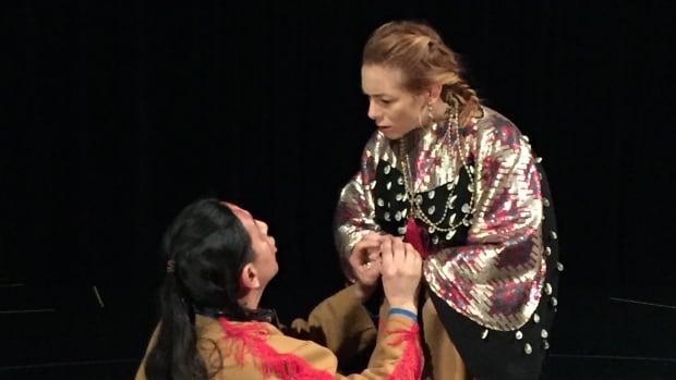 Curtis Peeteetuce as Macikosisân (Macbeth) and Allyson Pratt as Kâwanihot Iskwew (Lady Macbeth) in Pawâkan Macbeth, an Indigenous take on Shakespeare's famous play.