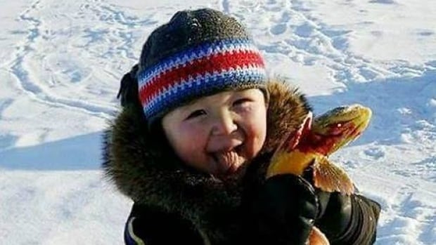 There is nothing like the feeling of catching your first fish! Pamela Perez Arualak sent this photo of Paul Kavik Kaludjak-Tanuyak with his first Arctic char, caught outside of Rankin Inlet, Nunavut. She says Paul's just turning three later this week.