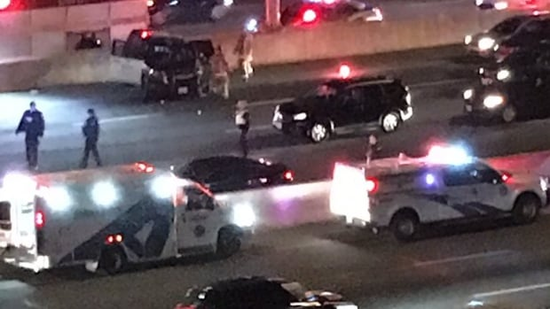 An Ontario Provincial Police officer was taken to hospital after sustaining minor injuries in a multi-vehicle crash on Friday evening.