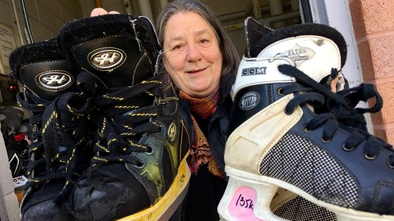397b952b790 Jutta Mason is hoping to give the city 120 pairs of ice skates for a new  skate-lending program in Regent Park. (John Rieti CBC)