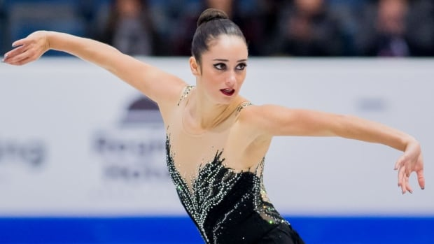 Kaetlyn Osmond tumbled to third place overall after a fall during her free skate program at the Grand Prix of Figure Skating's Internationaux de France in Grenoble on Saturday.