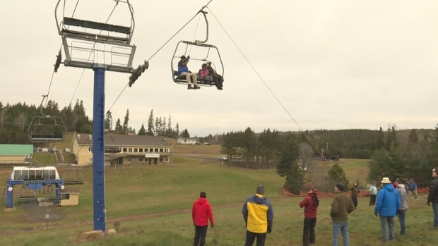 Members of the Brookvale Provincial Park ski patrol help rescue skiers stuck on a chair lift as part of an annual exercise.