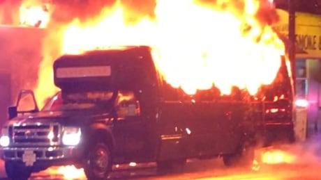 Party bus erupts into flames in downtown Vancouver