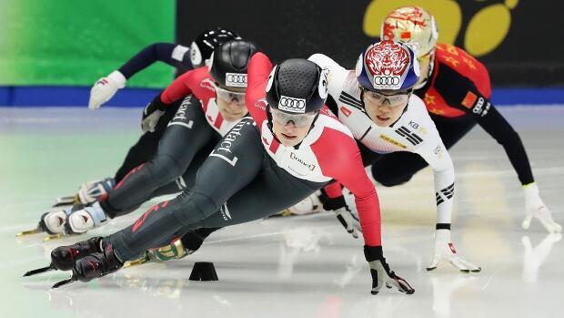 Canada's Kim Boutin won gold in the women's 1000m final in Seoul on Sunday.  (Photo by Chung Sung-Jun - ISU/ISU via Getty Images)