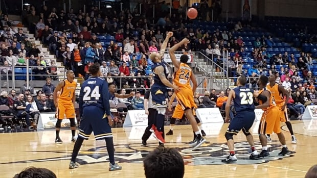 The St. John's Edge tip off against the Island Storm of Prince Edward Island on Saturday night in Charlottetown. The Edge won their first-ever basketball game, 97-96.