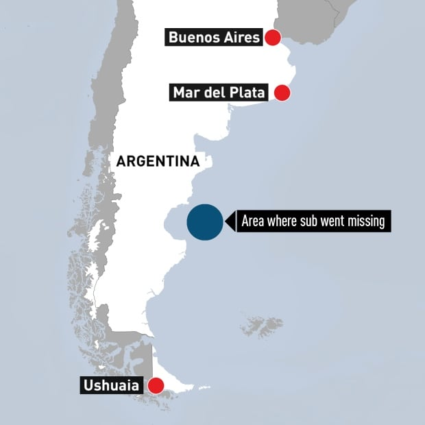 Argentina map search for navy submarine