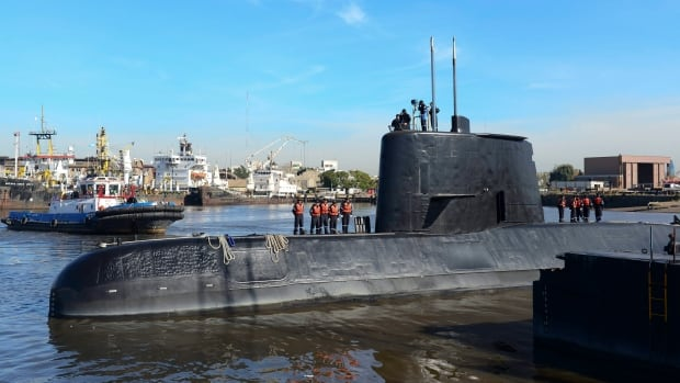 This 2014 photo provided by the Argentina Navy shows the ARA San Juan docked in Buenos Aires.