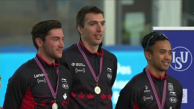 Canada's men's team sprint won gold for the second consecutive week on Sunday, with Vincent De Haitre, left, Aex Boisvert-Lacroix, centre, and Gilmore Junio leading Canada to the top of the podium.