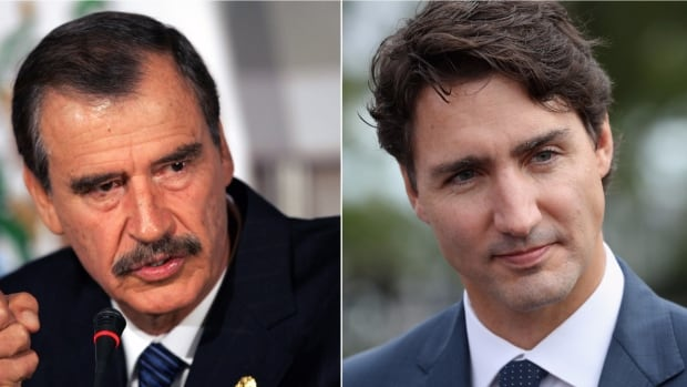 Former Mexican president Vicente Fox, left, urged Canadian Prime Minister Justin Trudeau not to ditch Mexico in pursuit of a one-on-one trade deal with the U.S.