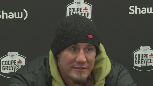 Edmonton Eskimos' coach Jason Maas talks to media after the loss to Calgary Stampeders Sunday evening.