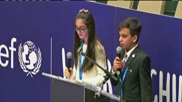 Basel Arashdan was part of a 'children's takeover' at the UN headquarters Monday.