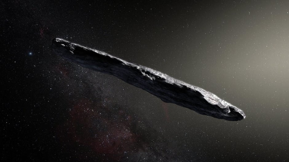 This artist's impression shows the first interstellar asteroid: 'Oumuamuaseems to be a dark red highly-elongated metallic or rocky object, about 400 metres long, and is unlike anything normally found in the Solar System.