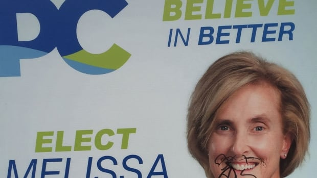 A sign for PC Party candidate Melissa Hilton on Kensington Road was vandalized.