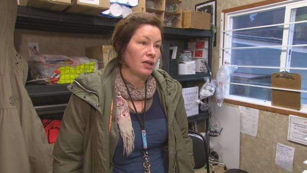 Sarah Blyth with the Overdose Prevention society in the group's trailer, which has been one of several temporary shelters the group has operated out of. The group now has an indoor location, which she says will make a difference in the winter.