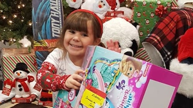 Amelie Roberge was totally shocked when Santa handed over exactly what she asked for at the Canadian Tire in Wallaceburg, Ont. Saturday.