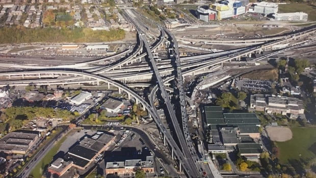 An aerial image of the Turcot interchange as of Oct. 19.