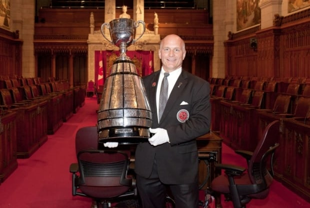 Jeff McWhinney with the CUp at Centre Block on Parliament Hill in Ottawa.