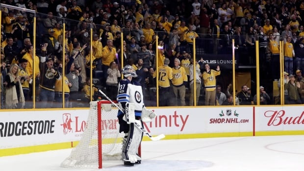 Connor Hellebuyck gave up five goals on 29 shots in the Winnipeg Jets' 5-3 loss to the Nashville Predators on Monday.