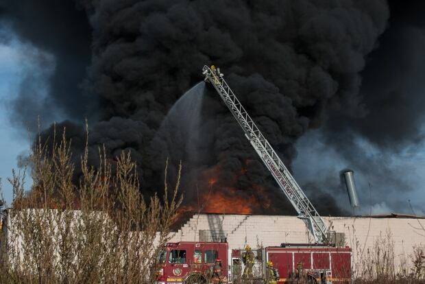 Firefighters Cambridge factory fire