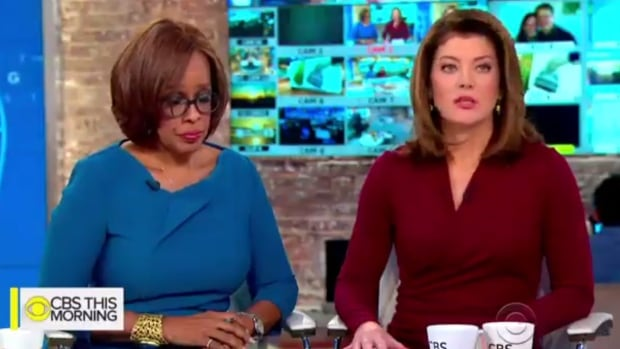 Gayle King, left, and Norah O'Donnell sharply condemned their suspended CBS This Morning colleague Charlie Rose early Tuesday morning after a Washington Post report Monday night levied sexual misconduct allegations against the veteran broadcaster.