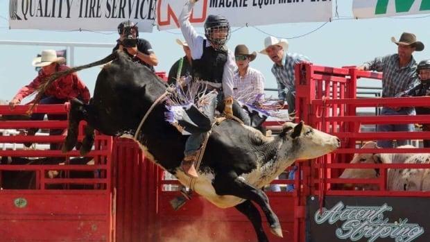 Nicole Bear said this photo of her son, Trinity, was taken at a steer riding event.  Trinity won the round the first day, qualified to ride the bounty bull and placed second overall, she said.