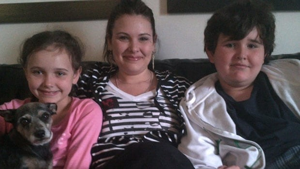 Emily Cablek with her two kids Abby and Dominic