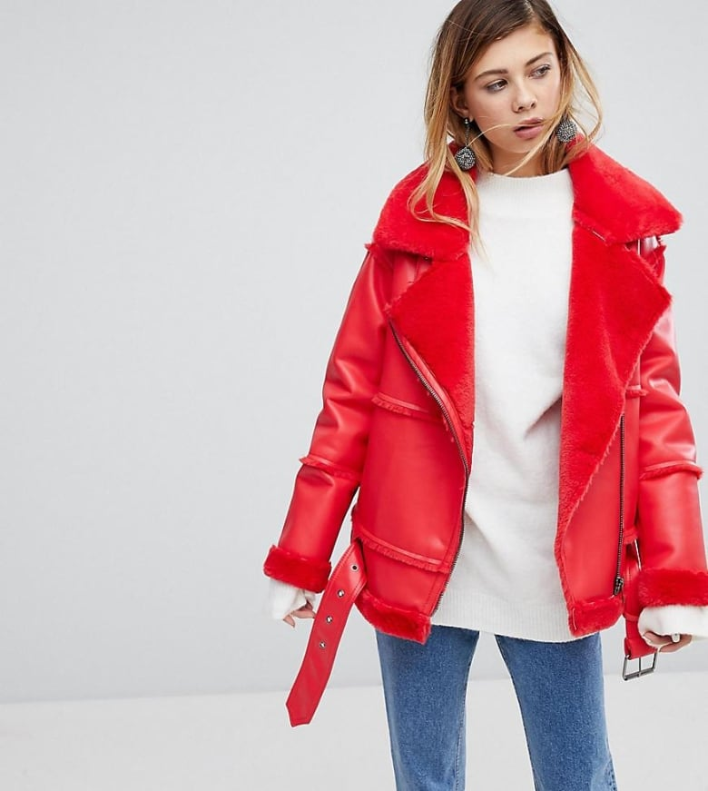 bd957b78b3 Putting this faux leather and shearling jacket on all winter would make my  day – how can you be down in such a cheery coat  Biker jackets have become  a ...