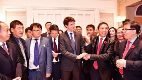 Prime Minister Justin Trudeau at a fundraiser with Miaofei Pan