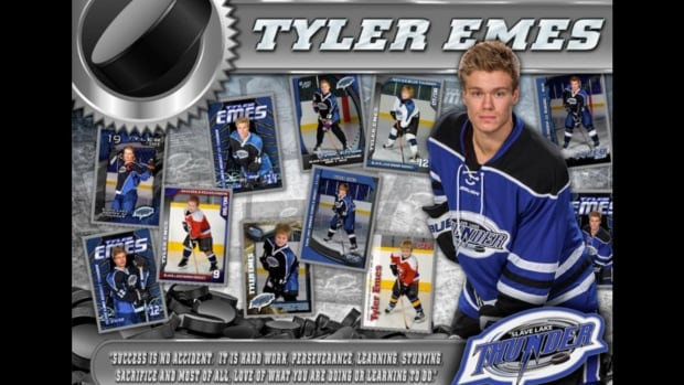 Tyler Emes was a well-known hockey player in Slave Lake and was most recently the captain of the Slave Lake Midget Thunder.