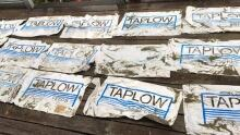 Plastic fish feed bags recovered from Pacific Rim National Park Reserve