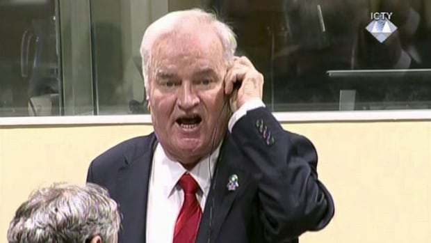 Bosnian Serb military chief Ratko Mladic during an angry outburst in the Yugoslav War Crimes Tribunal in The Hague on Wednesday. The UN Yugoslav war crimes tribunal ordered Mladic out of the courtroom before reading findings of guilt on 10 of 11 charges.