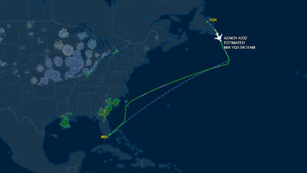 This graphic shows diverted flight Alitalia 631 as it diverted to St. John's with radio contact from Gander International Airport (YQX).