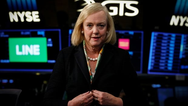 Hewlett Packard Enterprise CEO Meg Whitman is seen following an interview on CNBC on the floor of the New York Stock Exchange in this Sept. 2017 photo. Whitman revealed Tuesday that she is stepping down from the top job at HPE.
