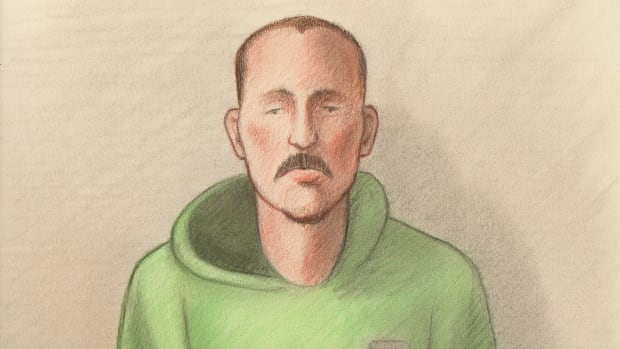 Court sketch of Damien Dubien, 33, of Ottawa, who appeared in court on Wednesday, Nov. 22, 2017, to face one count of second-degree murder in the death of Adrian Johnson.