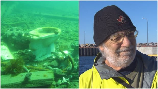 Seabird ecologist Bill Montevecchi says despite the alarming underwater finds, people are less likely now to dump trash over the wharf.