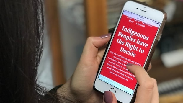 The website on Indigenous peoples' rights to free prior and informed consent over resource activity is both computer and mobile friendly for easy access.