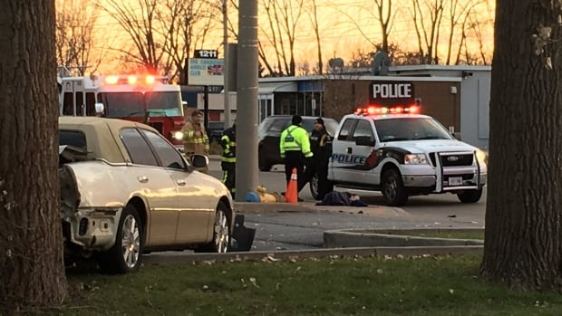 One person was sent to hospital with life-threatening injuries after a two-vehicle crash on Lauzon Road Wednesday.