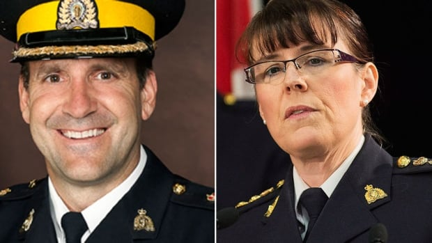 Deputy RCMP Commissioner Kevin Brosseau, left, and Assistant Commissioner Jennifer Strachan have been mentioned as possible candidates to replace Bob Paulson as RCMP commissioner. The members on the selection committee were announced this week.