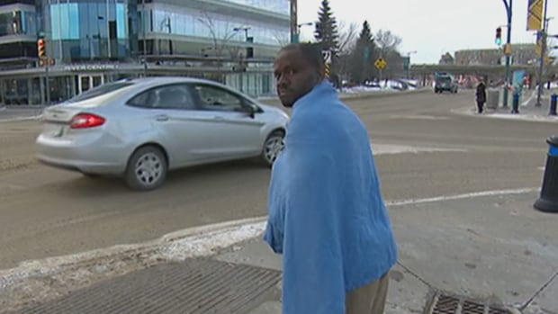 Victor Omoruyi after he was released on bail Wednesday afternoon in Saskatoon.