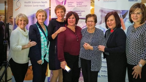 Nickel Belt MPP France Gelinas (third from left) celebrates in November 2016 with the Sam Bruno Steering committee, including the late Sam Bruno's sister and mother.