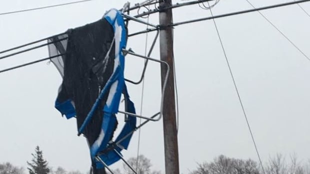 There's no telling how far this trampoline might have gone if it hadn't got caught on these power lines in Mermaid.