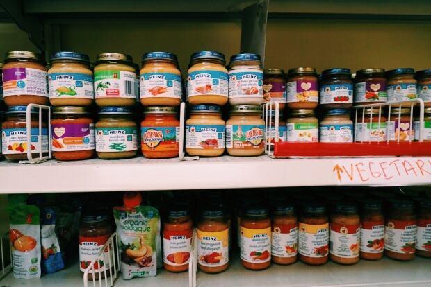 Baby items at London Food Bank