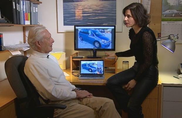 Auto collision expert Peter Keith (left) with Go Public's Rosa Marchitelli