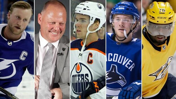 From left to right, Steven Stamkos, Gerard Gallant, Connor McDavid, Brock Boeser and P.K. Subban have all had notable starts to the NHL season.