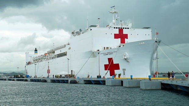 The US Naval Ship Comfort is a mobile combat hospital with 1,000 beds and state of the art medical facilities.