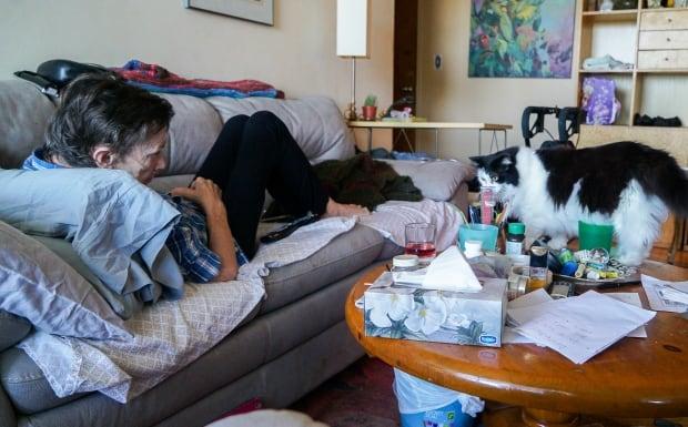 Nancy Vickers and her cat, Sasha.