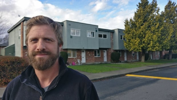 Victoria City Councillor Ben Isitt says the Evergreen Terrace complex is one site where redevelopment could add new apartments above the townhouse-style housing units.